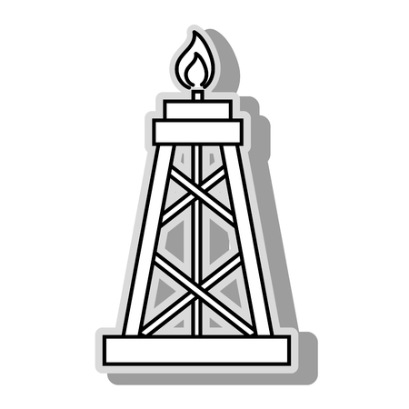 flamme: Oil petroleum pump, isolated flat icon design