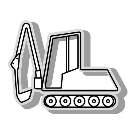 backhoe: Backhoe construction machinary, isolated flat icon design Illustration