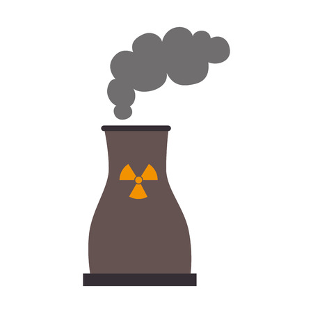 dangerous ideas: nuclear plant industry, isolated flat icon design
