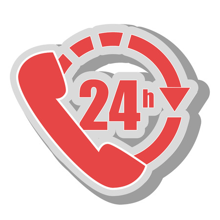twenty four hours: twenty four hours service, isolated flat icon design