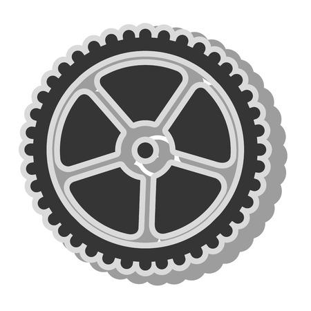 gearing: Gear bike wheel, isolated flat icon design.