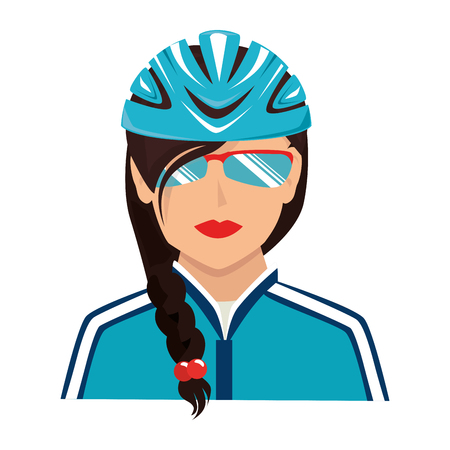 cyclist sunglasses helmet isolated flat icon design