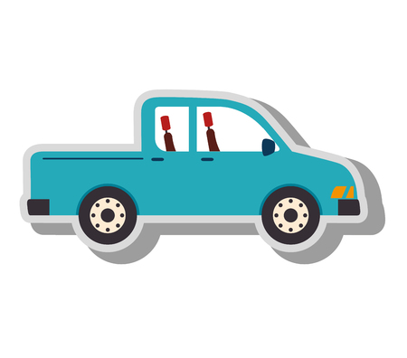 pick light: pick-up vehicle transport, isolated flat icon design