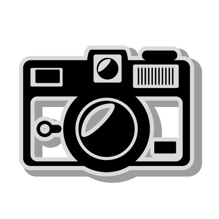 photographic: Vintage photographic camera, isolated flat icon cartoon