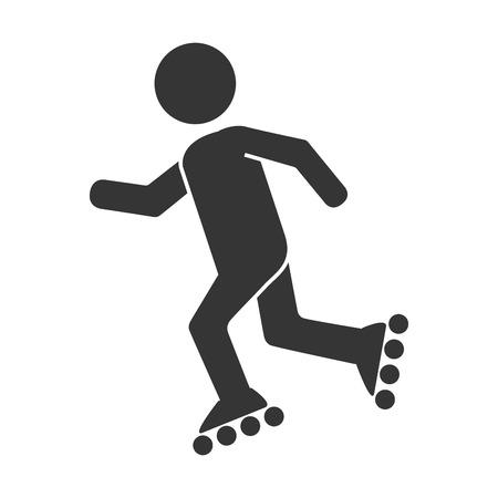 roller skating: roller skating sport, isolated flat icon design