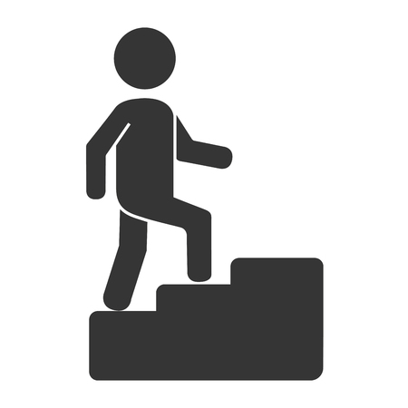 legs up: Man body silhouette pictogram , isolated flat icon with black and white colors.