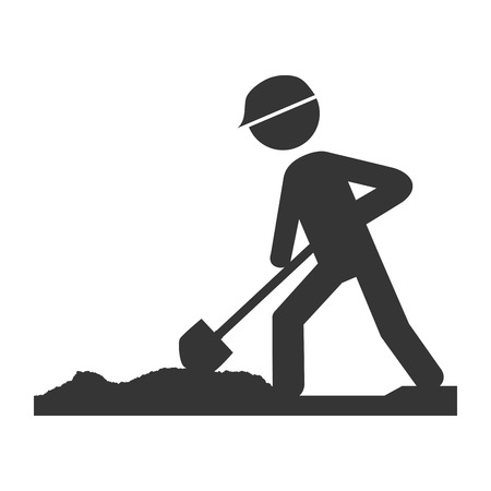 worker construction male, isolated flat icon design