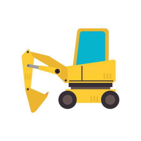 backhoe: under construction backhoe, isolated flat icon design Illustration