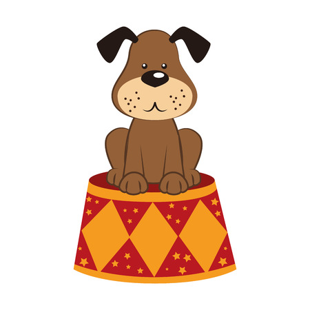 cirque: dog circus stand, isolated flat icon design