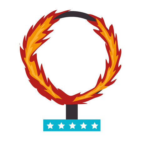 cirque: circus fire hoop, isolated flat icon design