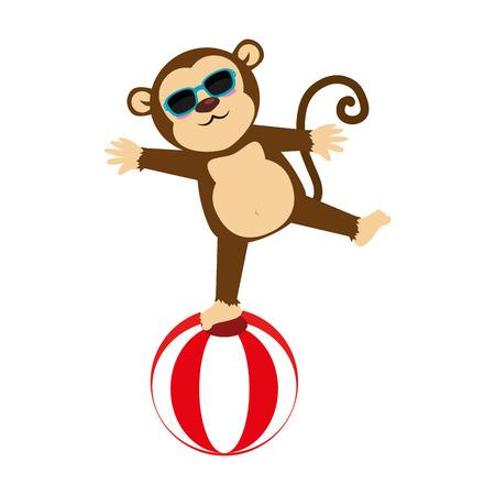 sunglasses recreation: circus monkey cartoon, isolated flat icon design