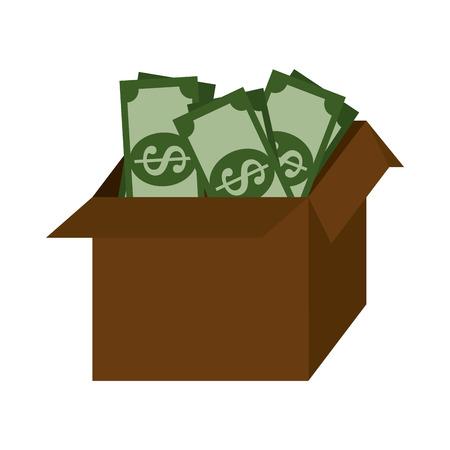 money box: money box and business isolated flat icon design