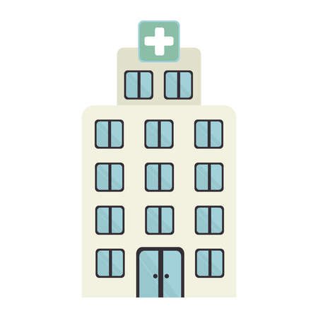 medical building: Medical building isolated flat icon, vector illustration graphic design. Illustration
