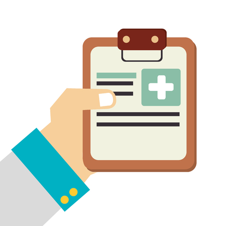clinic history: Medical report isolated flat icon, vector illustration graphic design. Vectores