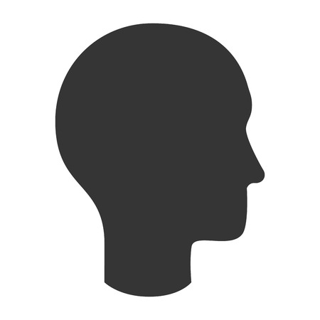 human head silhouette, isolated flat icon design