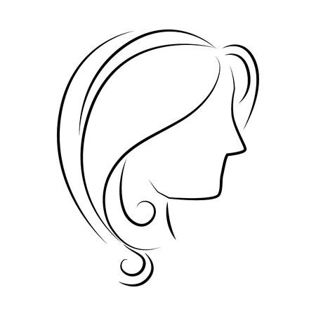 siluetas de mujeres: perfil de la cabeza de la mujer, diseño icónico plana