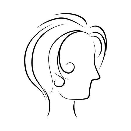 cabeza femenina: perfil de la cabeza de la mujer, diseño icónico plana