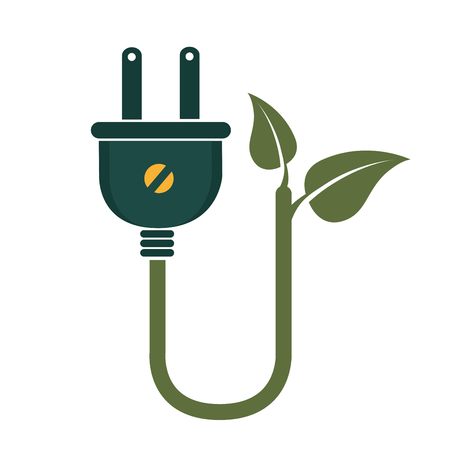 industry electronic: plug energy power, isolated flat icon design Illustration