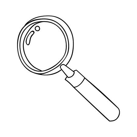 scrutiny: Magnifying glass ,isolated black and white flat icon design