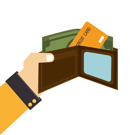 money wallet: money wallet credit card isolated icon flat design Illustration