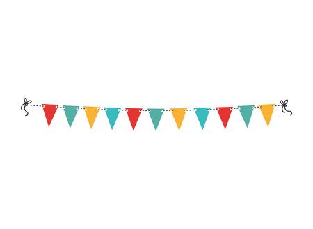 pennants decoration party isolated icon flat design Illusztráció