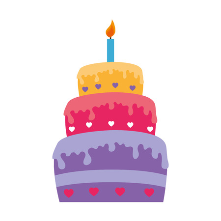 happy birthday cake isolated icon flat design