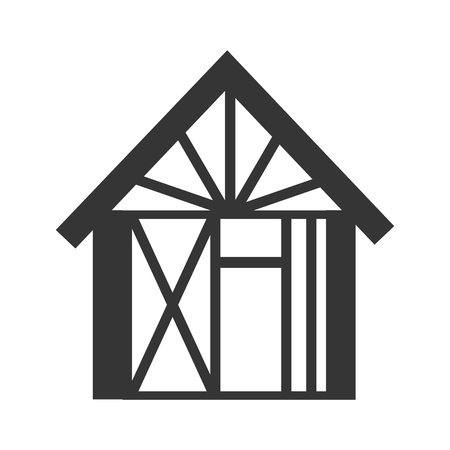 house construction: house under construction building vector graphic isolated and flat