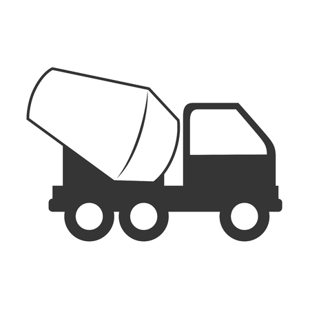 steel drum: concrete mixer truck construction vector graphic isolated and flat illustration