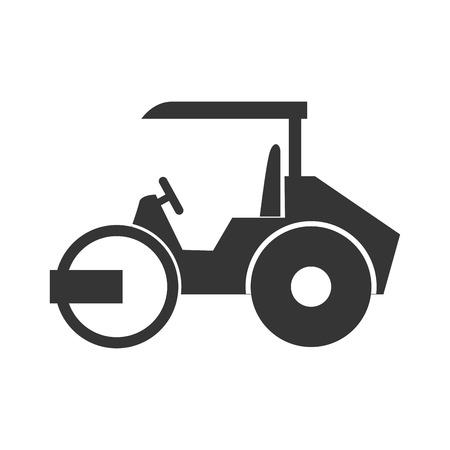stoomwals vrachtwagen bouwmachines vector geïsoleerd grafisch en een flatscreen illustratie