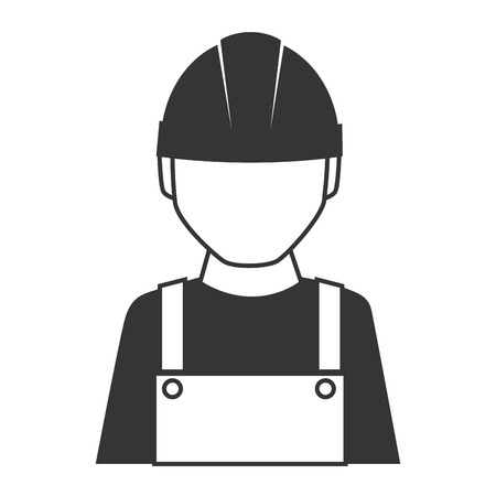 coverall: builder construction worker helmet man coverall vector graphic isolated and flat illustration Illustration