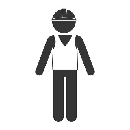 builder travailleur de la construction graphique homme vecteur casque isolé et illustration plat Vecteurs