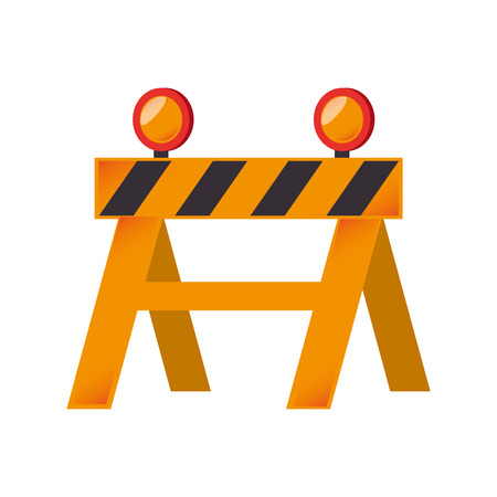 security lights: construction barricade barrier building zone vector graphic isolated and flat illustration