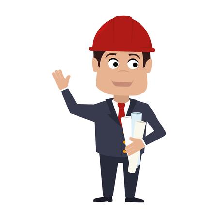 arquitecto caricatura: el casco del arquitecto dise�a aislado plan de construcci�n de dibujos animados vector de hombre gr�fico y la ilustraci�n plana avatar Vectores