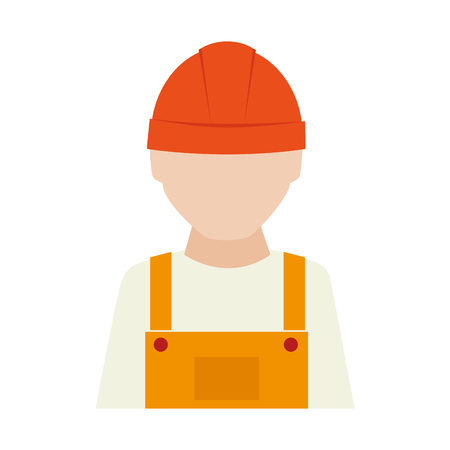 coverall: builder construction worker helmet man vector graphic isolated and flat illustration