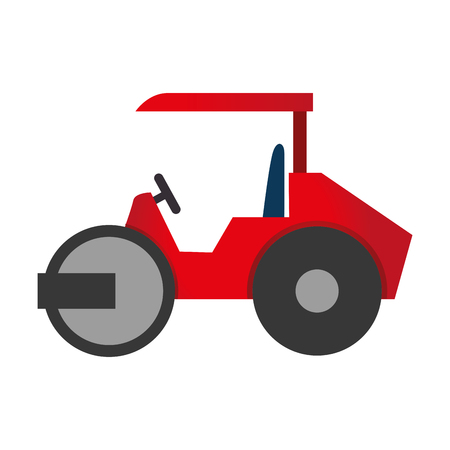 construction vibroroller: steamroller truck construction machinery vector graphic isolated and flat illustration Illustration