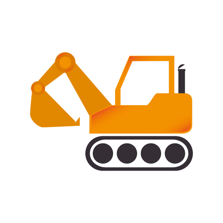 dredger: excavator construction machinery build industry truck vector graphic isolated and flat illustration