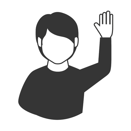asking: man guy hand up asking question participation  vector graphic isolated and flat illustration