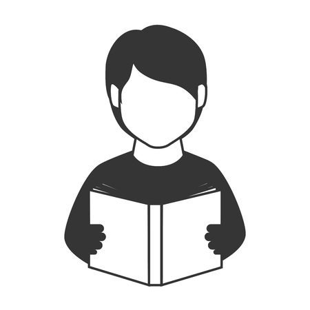 child studying: reading book man person education studying learn  vector graphic isolated and flat illustration Illustration