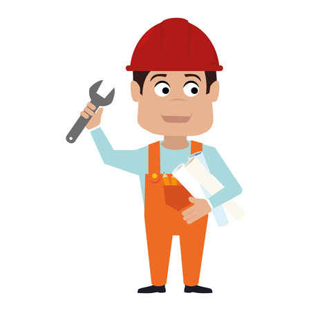 builder construction worker helmet man wrench hand arm plan vector graphic isolated and flat illustration