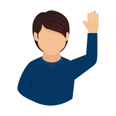 man guy hand up asking question participation vector graphic isolated and flat illustration Ilustração Vetorial