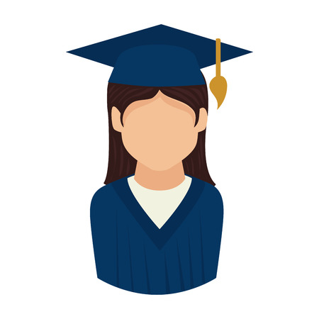 woman graduate graduation education university achievement hat vector graphic isolated and flat illustration