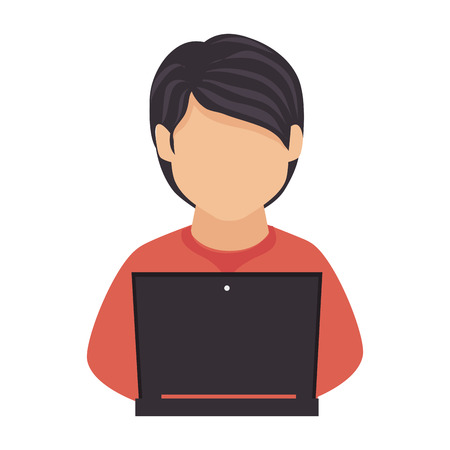 computer education: man laptop computer studying education technology vector graphic isolated and flat illustration