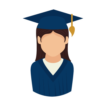 succeeding: woman graduate graduation education university achievement hat vector graphic isolated and flat illustration