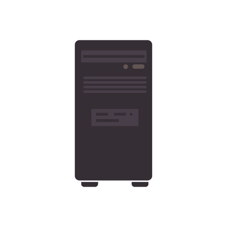 computer case: cpu tower box computer case pc technology electronic vector graphic isolated and flat illustration