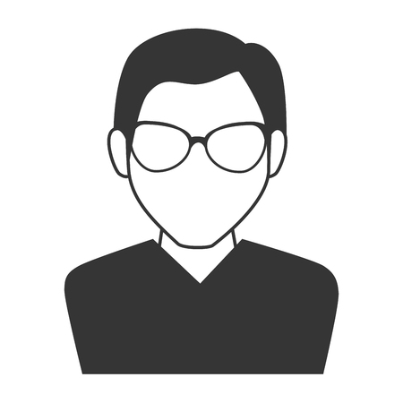 man guy boy person glasses face head human icon vector graphic isolated and flat illustration