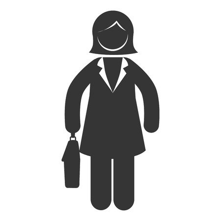woman tie: business woman businessperson  suit silhouette tie vector graphic isolated and flat illustration Illustration
