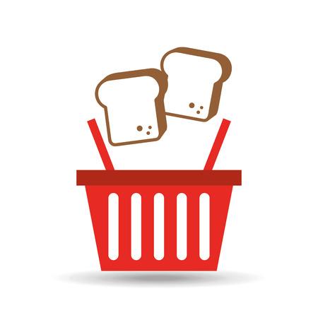 chopped bread basket fresh produce bakery illustration Illustration