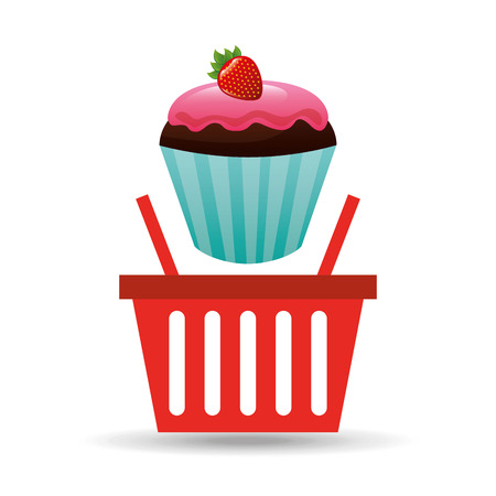 bakery products: fresh cupcake bakery products basket, vector illustration