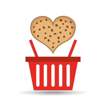 chocolate chip: basket sweet heart chocolate chip cookie illustration Illustration
