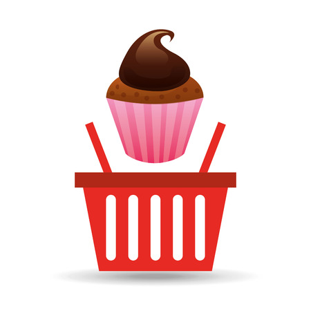 whole grain: fresh cupcake bakery products basket, vector illustration